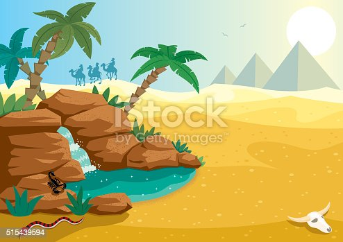 Cartoon illustration of small oasis in the Sahara desert. A4 proportions.