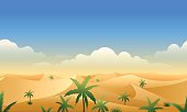 Desert panorama horizontal seamless pattern