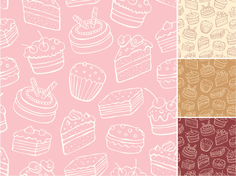 Desert pattern with backgrounds in cream, tan, red and pink