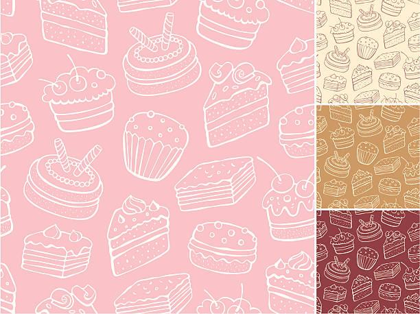 szkic słodkie bez szwu wzór - ciasto stock illustrations