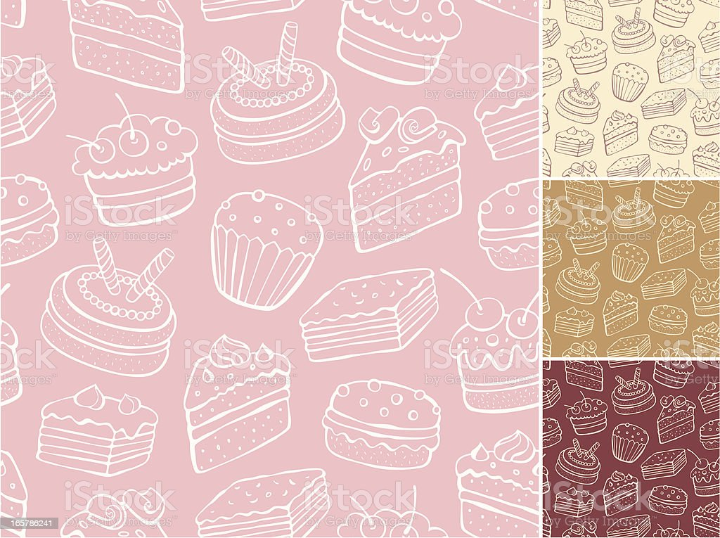 Desert pattern with backgrounds in cream, tan, red and pink vector art illustration