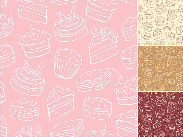 Desert pattern with backgrounds in cream, tan, red and pink Outline vector seamless pattern of sweets cake drawings stock illustrations