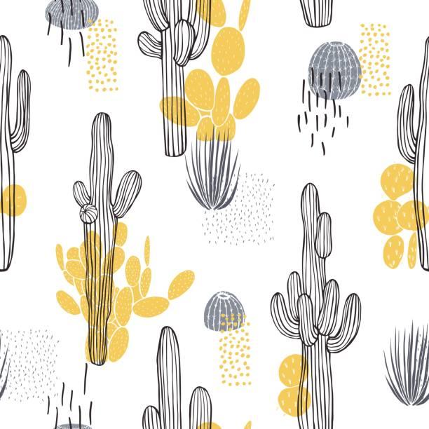 ilustraciones, imágenes clip art, dibujos animados e iconos de stock de plantas del desierto, cactus. patrón vectorial. - conceptos y temas