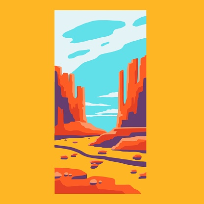 Desert poster. Abstract mountain drawing, nature art t-shirt print, vintage outdoor adventure art, vector illustration.