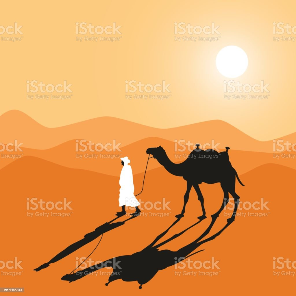 Desert safari. Sunrise. vector art illustration
