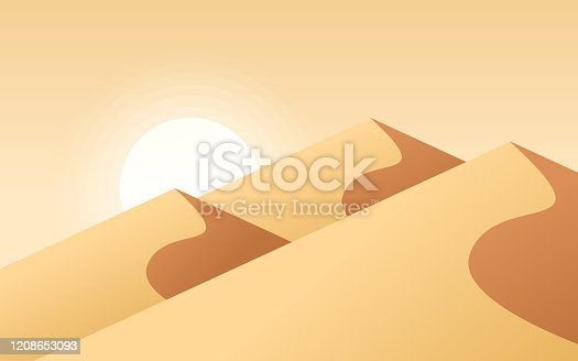 Desert sand dune background with glowing sun.