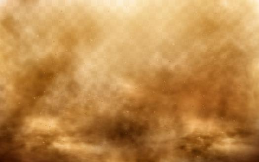 Desert sandstorm, brown dusty cloud on transparent