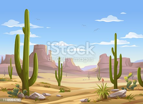 Vector illustration of a desert landscape with Saguaro cactus. In the background are hills and mountains and a blue cloudy sky.