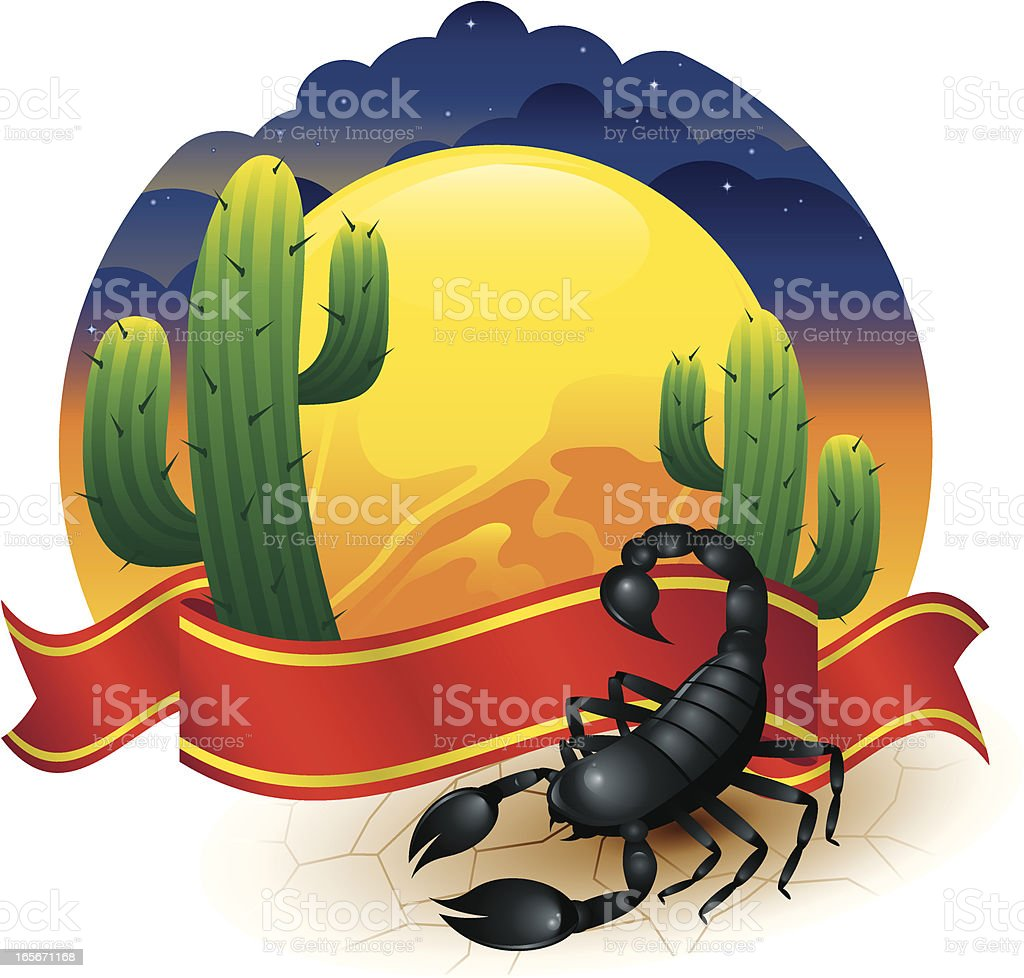 Desert Scene with Scorpion royalty-free stock vector art