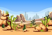 Canyon scenery with rocks and hills, cactus. Mexico desert landscape or American wildlife nature at day with mountains and stones, sky. America land scene and travel, tourism theme
