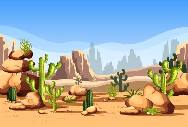 desert scenery or american canyon - desert stock illustrations