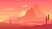 Desert scenic nature landscape vector illustration. Cartoon flat panoramic Mexican sand desert scenery with cactuses, rising sun behind mountains silhouettes, sunset or sunrise hot natural background