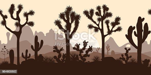 Desert seamless pattern with silhouettes of joshua trees, opuntia, and saguaro cacti. Mountains background.