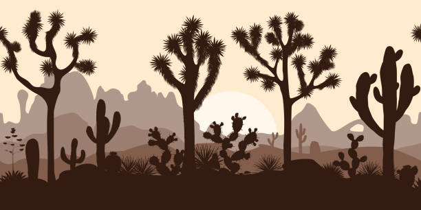 Desert seamless pattern with joshua trees, opuntia, and saguaro vector art illustration