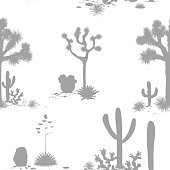 Desert seamless pattern with silhouettes of joshua trees, opuntia, and saguaro cacti. Cactus background. Vector illustration for wallpapers, textile, prints, and banners