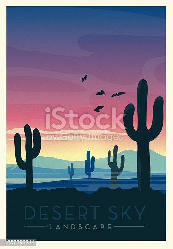 istock Desert Sky with wild cactus scenic landscape poster design 1257292244