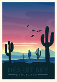 Vector illustration of a desert arid sky with cactus scenic landscape poster design with text. Vintage texture overlay. Fully editable EPS 10.