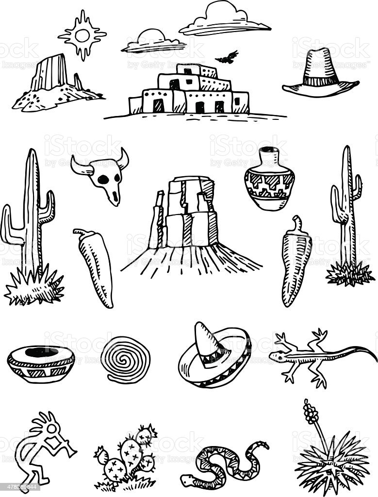 Desert Southwest Hand-drawn Doodles vector art illustration