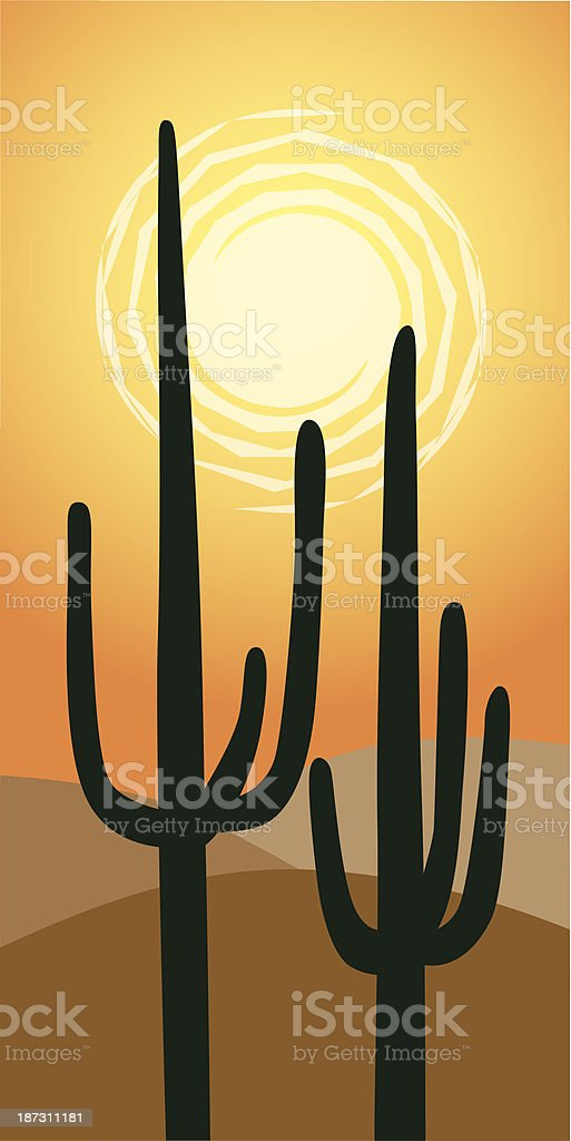 Desert Sun vector art illustration