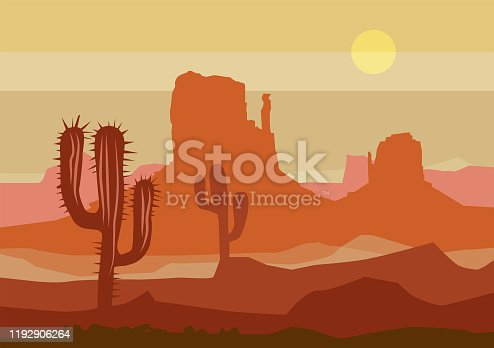Desert sunset landscape. Arizona or Mexico western background with wild cactus, vector illustration