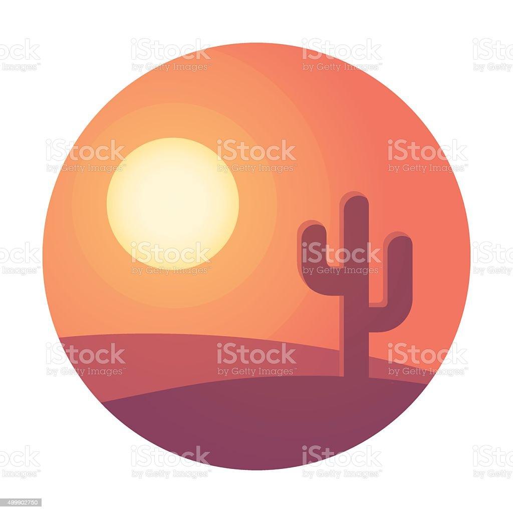 Desert sunset landscape vector art illustration