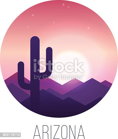 Desert sunset landscape with cactus and hills. EPS 10. RGB. Transparencies