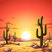 Vector illustration of a desert landscape with Saguaro cactus at sunset. In the background are hills and mountains, and a bright, vibrant red sky. Illustration with space for text.