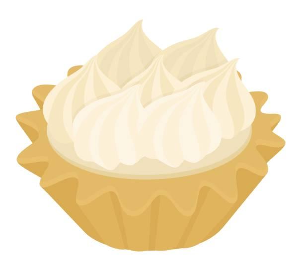 wüste törtchen mit italienischen baiser und zitrone sahne kuchen. vektor-illustration auf weißem hintergrund - vanillesauce stock-grafiken, -clipart, -cartoons und -symbole