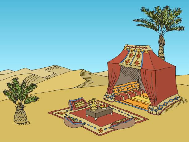 desert tent graphic black white landscape sketch illustration vector - bedouin tent stock illustrations, clip art, cartoons, & icons