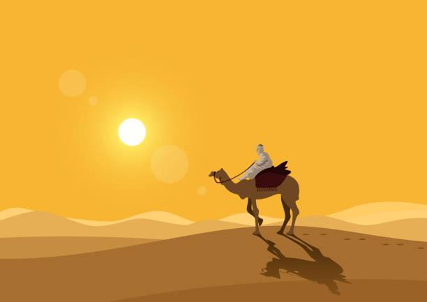 Desert A man riding a camel in the desert desert stock illustrations