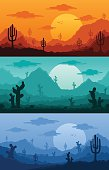 Desert wild nature landscapes with cactus, desert herbs, clouds and mountains in various times of day vector illustration