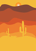 Desert with cactus at sunset illustration