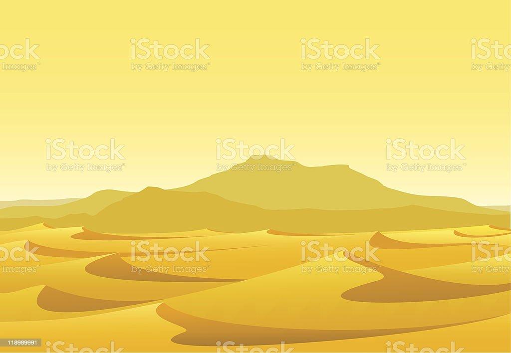 Desert with dunes vector art illustration