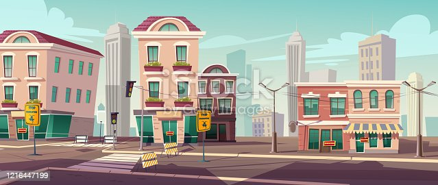 Deserted city due to coronavirus pandemic. Empty street with stop quarantine signs, fenced crossroad and traffic lights. Closed derelict town with no people due to epidemic Cartoon vector illustration