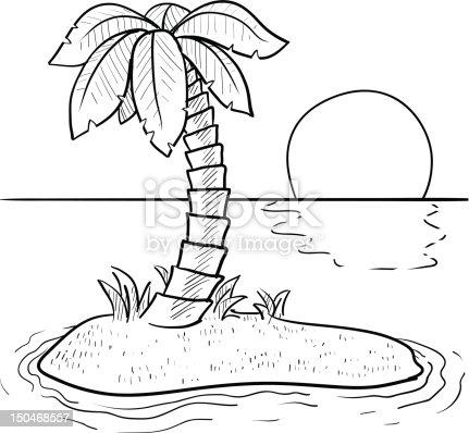 Île Tropicale Déserte Croquis