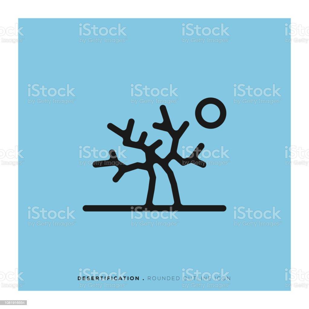 Icono de línea redondeada de la desertificación - ilustración de arte vectorial