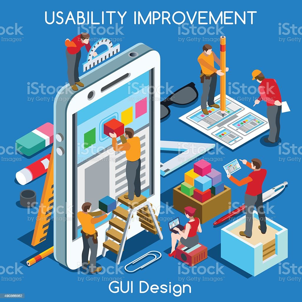 GUI design 02 People Isometric vector art illustration