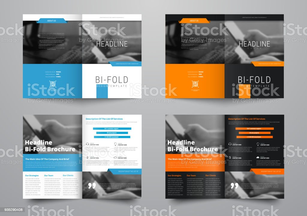design a bifold brochure with a place for photos in a minimalistic