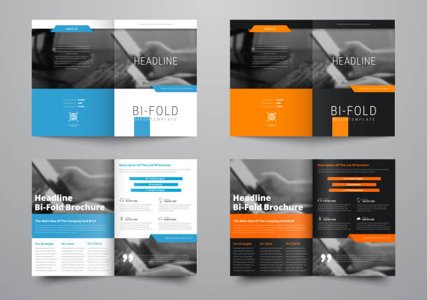 design a bi-fold brochure with a place for photos in a minimalistic style. - brochure templates stock illustrations, clip art, cartoons, & icons