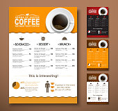 Design a menu for the cafe, a restaurant, coffee shop. Templates with a cup, a top view of different colors. Vector illustration. Set