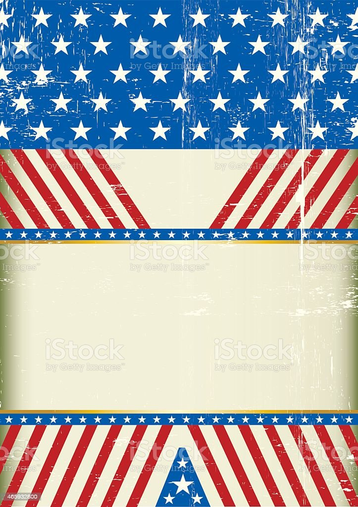 A grunge american background with a large empty space for your message