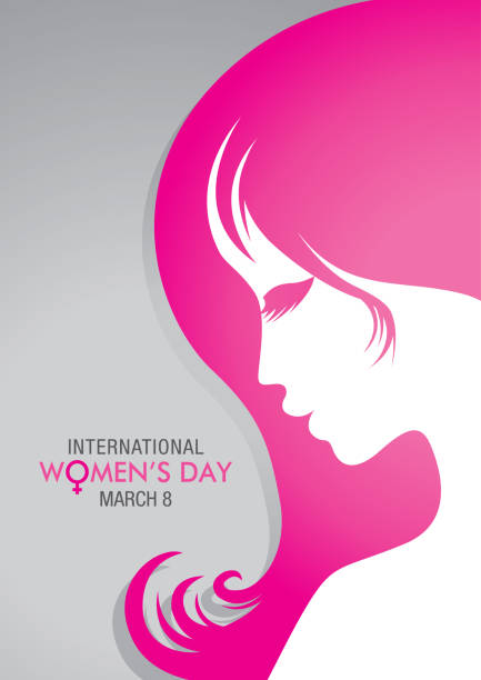 design about international women's day with a drawing of a woman face with pink hair on gray background - alejomiranda stock illustrations