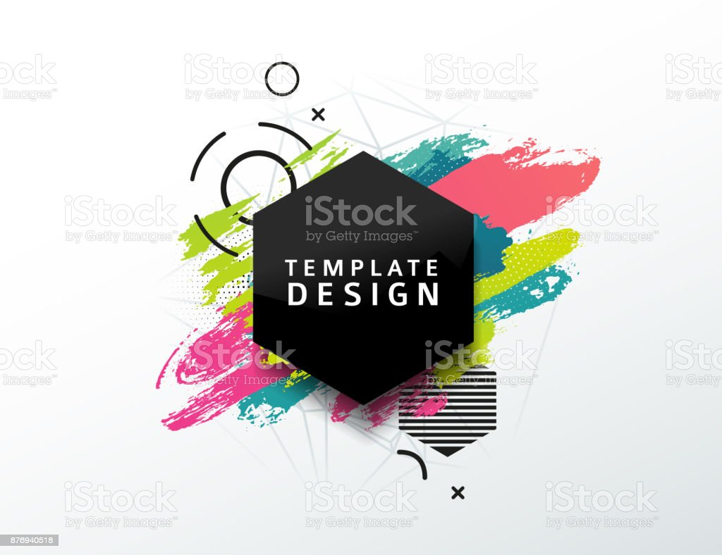 Design abstract  rhombus banner with a geometric background and texture of the spots and pattern. Template for presentation, brochure, flyer with polygonal  diamond frame and particles on backdrop. vector art illustration