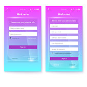 UI design, account register or authorization, interface for touchscreen mobile apps. UX Screen on glass background. Entrance via login, password. Registration with personal data