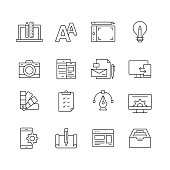 Design and Creativity - Set of Thin Line Vector Icons