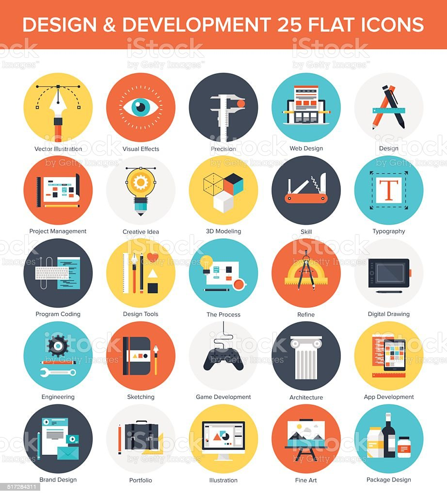 Design and Development Icons. vector art illustration