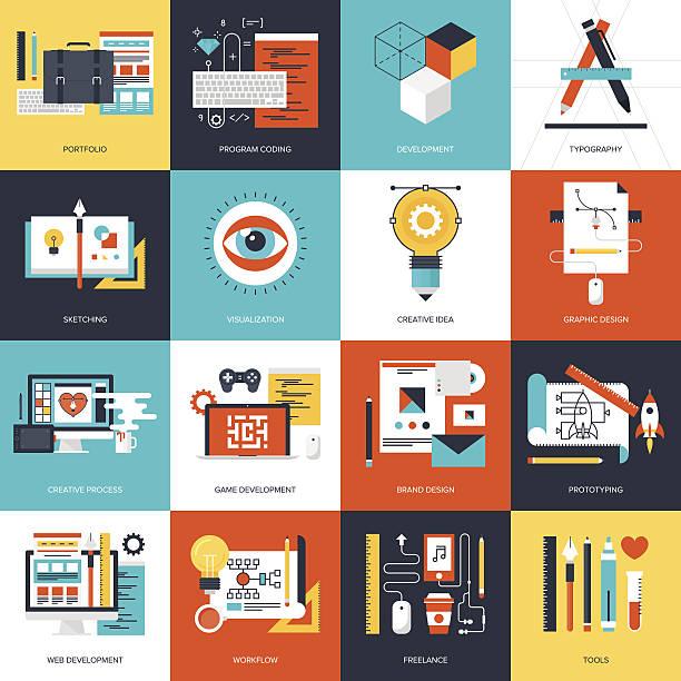 illustrations, cliparts, dessins animés et icônes de design et développement. - infographie de sites web