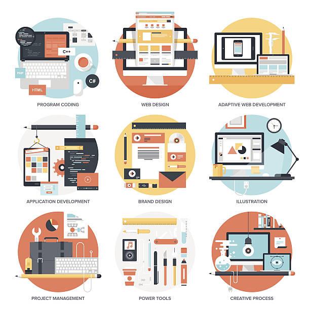 design and development. - website infographics stock illustrations, clip art, cartoons, & icons