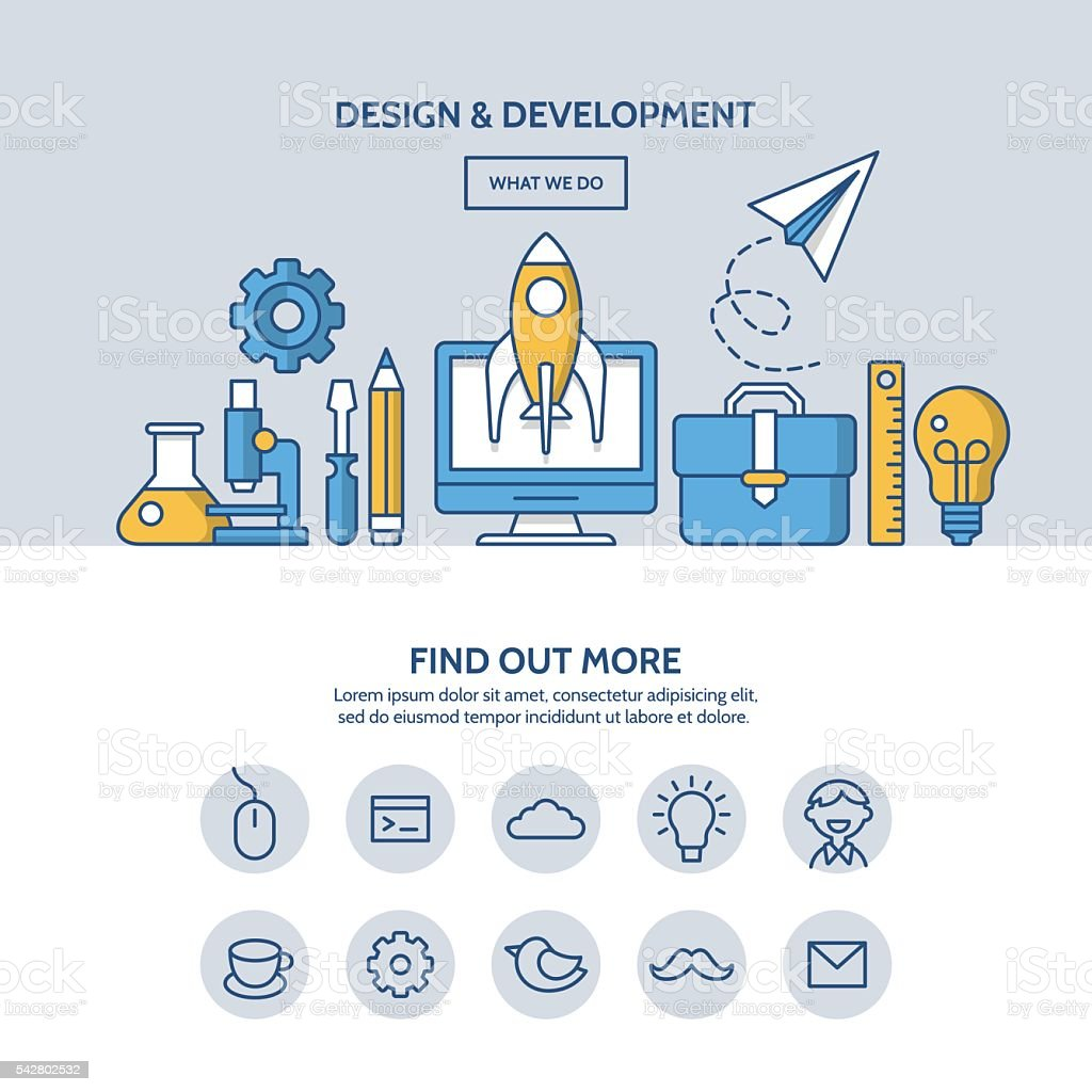 Design and development website hero image concept vector art illustration