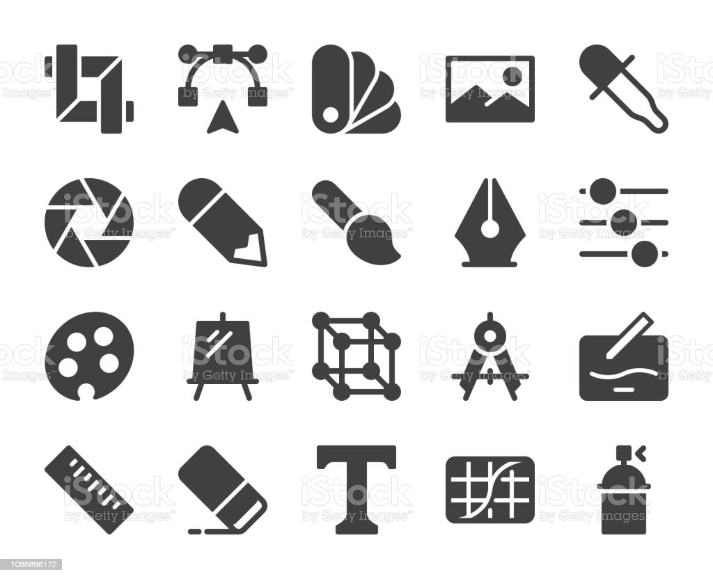 Design and Drawing - Icons vector art illustration